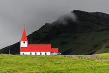 Vik Church In Vik I Myrdal Southernmost Village Of Iceland.