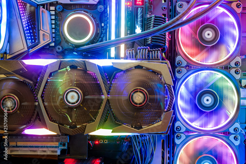 Close-up and inside Desktop PC Gaming and Cooling Fan CPU