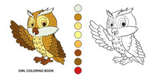 Coloring Page. Little Cute Owl