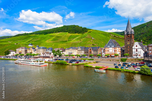 Photo Stands Ship Bernkastel Kues aerial view, Germany.