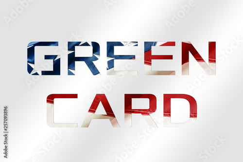Fényképezés  Green Card on a USA flag background