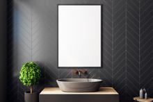 Modern Black Bathroom With Pos...
