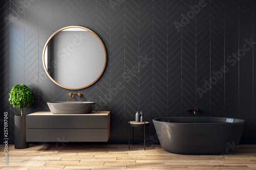 Fotografie, Obraz  Modern black bathroom interior
