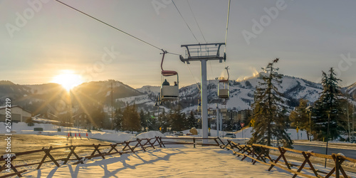 Ski Lifts in Patk City against mountain and sun Canvas Print