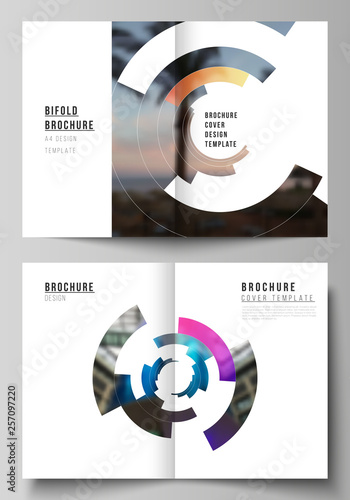 Echelle de hauteur Vector layout of two A4 format modern cover mockups design templates for bifold brochure, flyer, booklet, report. Futuristic design circular pattern, circle elements forming geometric frame for photo.