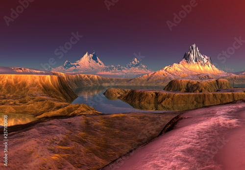 Foto auf AluDibond Kastanienbraun 3D Rendered Fantasy Mountain Landscape - 3D Illustration