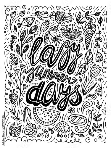 lazy-summer-days-czarno-biala-ilustracja-wakacyjna
