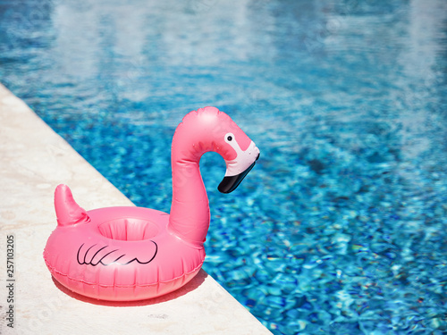 Inflatable toy of pink flamingo near swimming pool at poolside Wallpaper Mural