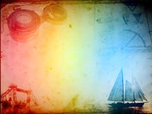 Steampunk Compass Paper Sailboat Ship, Vintage Canvas, Old Retro Grunge Background