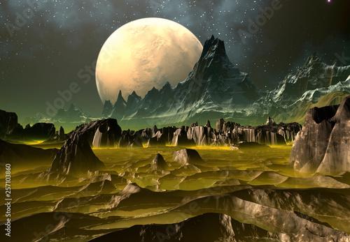 Foto op Aluminium Draken 3D Rendered Fantasy Alien Landscape - 3D Illustration
