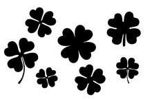 Classic Four- Leaf Silhouettes Set Individual Elements, Icons, Logo Design, Scrapbooking Graphics On White Background