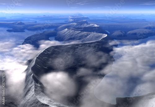 Aluminium Prints Dark grey 3D Rendered Fantasy Mountain Landscape - 3D Illustration