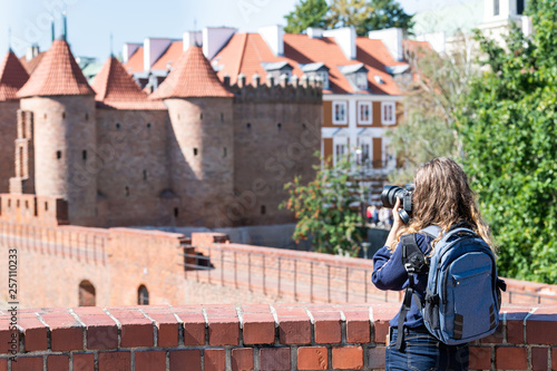 Warsaw, Poland Famous Barbican old town historic city during summer day and red Wallpaper Mural
