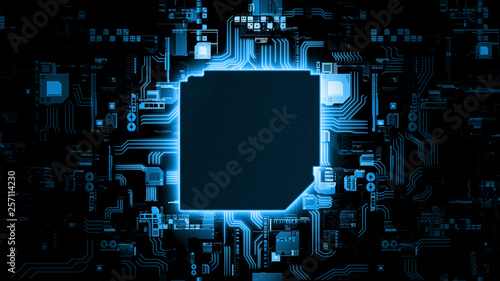 Fotografiet 3D Rendering of abstract blue glowing circuit board background with copy space at center for your text, logo or products