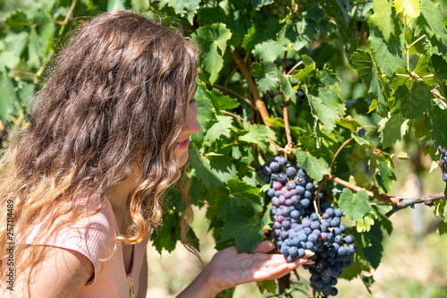 Closeup Portrait Of Young Woman Touching Vineyard Winery