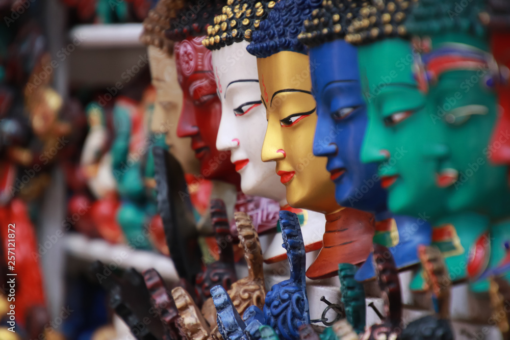 Fototapety, obrazy: Thamel Kathmandu city, Nepal.Colorful Tradition wooden masks and handicrafts on sale at shop in the Thamel District of Kathmandu, Nepal