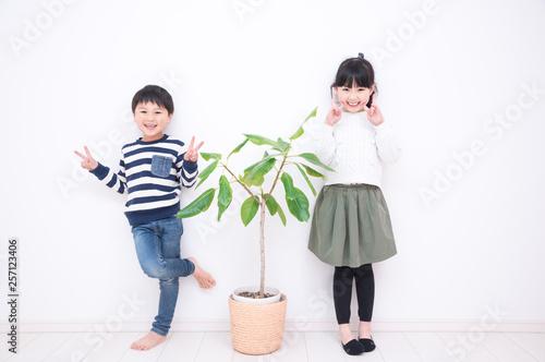 観葉植物と子供 Canvas-taulu