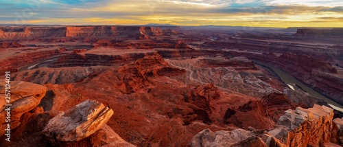 Dead Horse Point Southern Utah bathed in golden sunlight from the setting sun