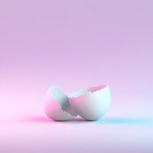 Eggshell With Neon Lights On Pastel Colors Background. Easter Concept. 3d Rendering