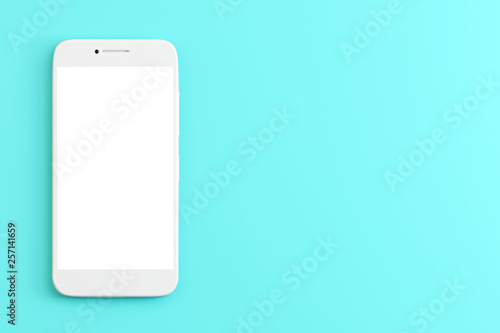Valokuva  Smartphone on blue background. 3d rendering
