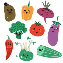Cartoon Vegetables. Vegan Healthy Meal Organic Food Delicious Fresh Child Vegetable Faces Vector Isolated Characters
