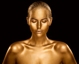 Woman Golden Skin, Fashion Model Painted Gold Body Art, Beauty Makeup as Bronze Metal - 257150265
