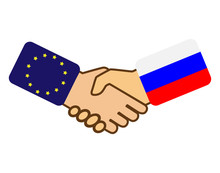 Shake Hands With The Flag Of The European Union And Russia, Flat Design