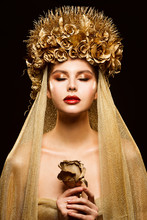 Woman In Gold Flower Crown, Fa...
