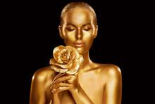 Gold Fashion Model Beauty Portrait With Rose Flower, Golden Woman Art Luxury Makeup On Studio Black Background