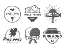 Table Tennis Logos. Vector Ping Pong Badges For Tournament, Championship Or Tennis Club. Labels With Rackets, Balls And Equipment
