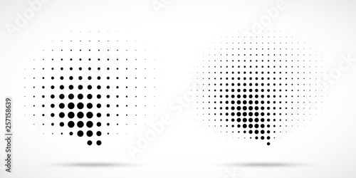 Cuadros en Lienzo  Halftone dots curved gradient pattern texture isolated on white background set
