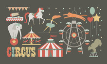 Circus Performance Set. Human And Animals Design Elements.