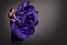 Woman Purple Dress, Fashion Model In Long Silk Gown Waving Cloth On Wind, Fantasy Girl In Flying Fluttering Fabric