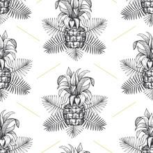 Pineapple Seamless Pattern. Hand Drawn Vector Tropical Fruit Illustration. Engraved Style Ananas Fruit. Retro Botanical Background.