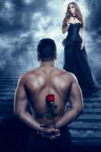 Romantic Couple, Man Give Flow...
