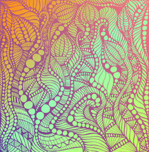 Psychedelic Decorative Ornaments Lilac Color, Gradient Colorful Colors Background. Fantasy Doodle Pattern. Vintage Bright Abstract Pattern With Doodle Maze Ornaments. Vector Hand Drawn.