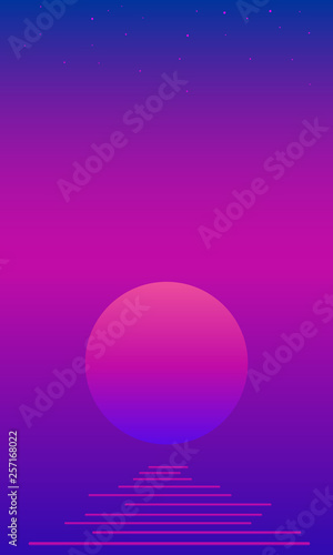 Keuken foto achterwand Violet Fantastic psychedelic landscaope with moon, sea,stars on bright gradient color bacgtound. Vector vintage colorful fantasy landscape.