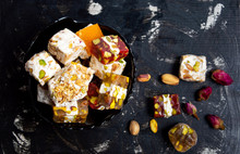 Turkish Delights With Pistachios And Rose Flower