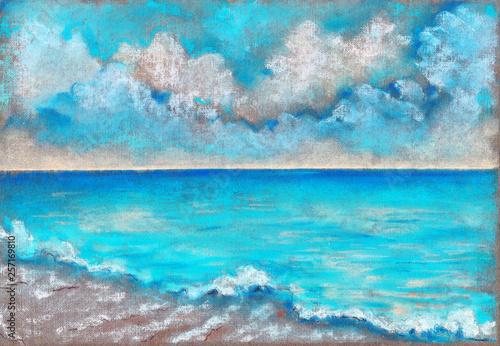 Türaufkleber Turkis Blue sea and blue sky pastel landscape