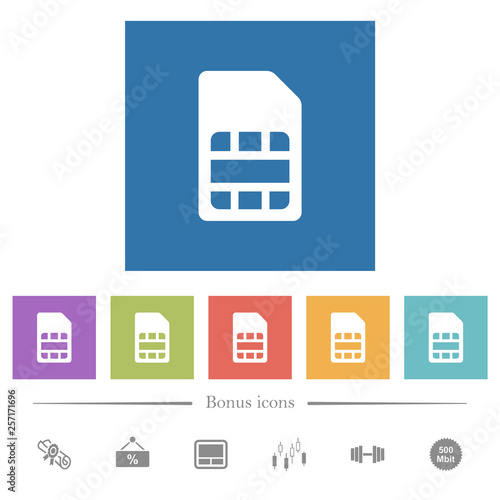 Valokuva  SIM card flat white icons in square backgrounds