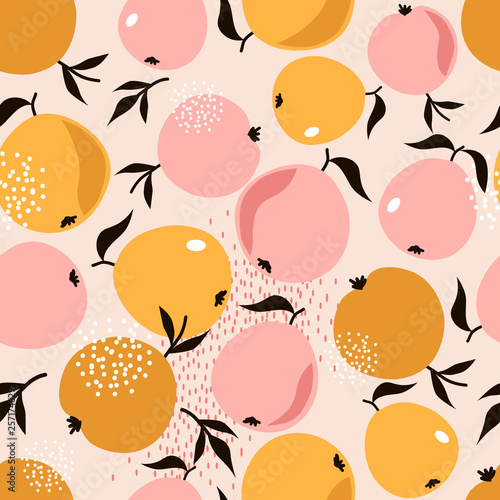 fototapeta na ścianę Apples and leaves background. Hand drawn overlapping backdrop. Colorful wallpaper vector. Seamless pattern with fruits collection. Decorative illustration, good for printing. Design poster
