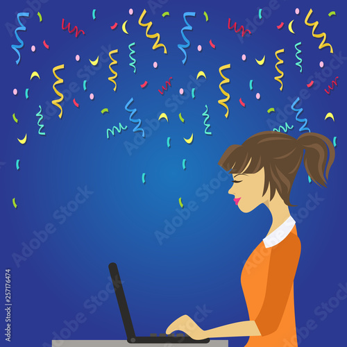 In de dag Kinderkamer Illustration of Young Busy Woman Sitting Side View and Working on her Laptop Design business concept Empty copy text for Web banners promotional material mock up template.