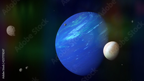 Photo planet Neptune with its moon Triton and some other moons