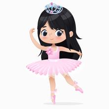 Cute Small Brunette Girl Ballerina Dance Isolated. Caucasian Ballet Dancer Baby Princess Character Jump Motion. Elegant Doll Wear Pink Tutu Dress. Beautiful Kid Flat Cartoon Vector Illustration.