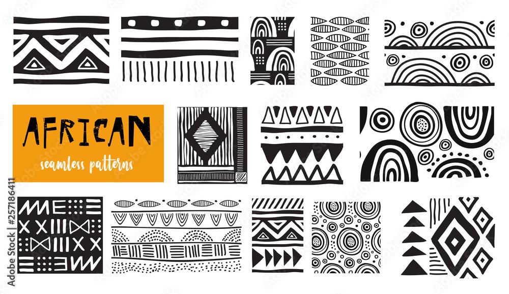 Fototapeta Seamless African modern art patterns. Vector collection