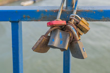 Locked Padlock Of Love On A Br...