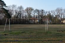 Fußballplatz In Der Au In Oberwaltersdorf Mit Alten Toren