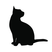 Vector Silhouette Of The Cat  ...