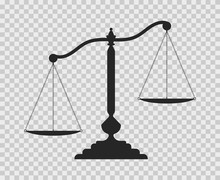 Scales Of Justice. Dark Empty Scale On Transparent Background. Classic Balance Icon. Law Balance Symbol.