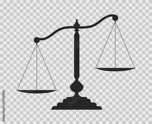 Scales of justice. Dark empty scale on transparent background. Classic balance icon. Law balance symbol. Fototapete